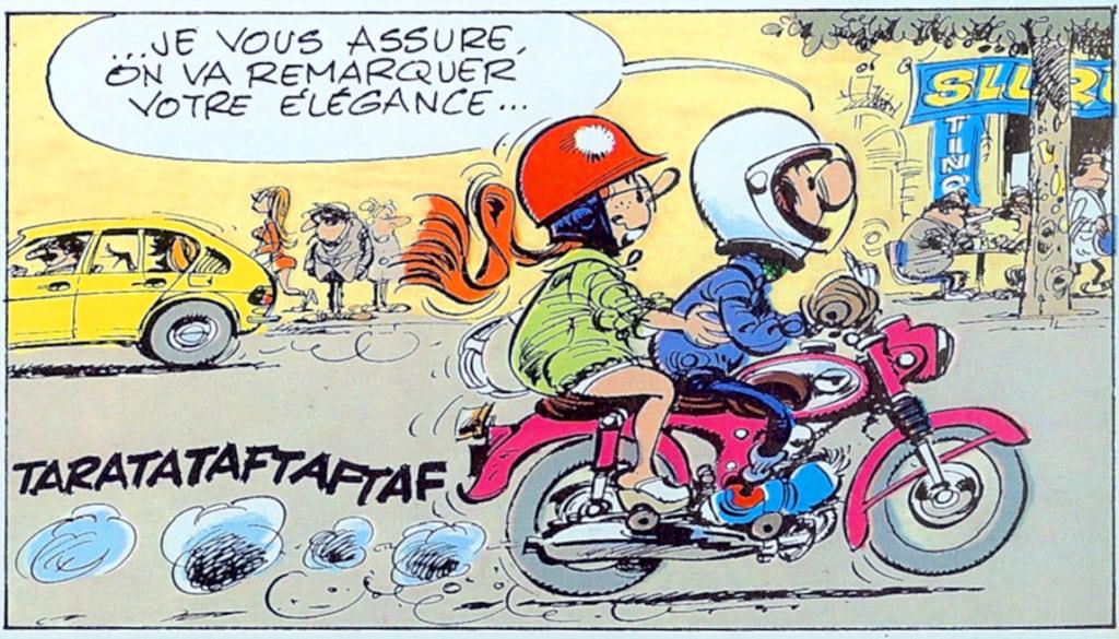 Gaston Lagaffe et Melle Jeanne en moto | Album N°14 page 2