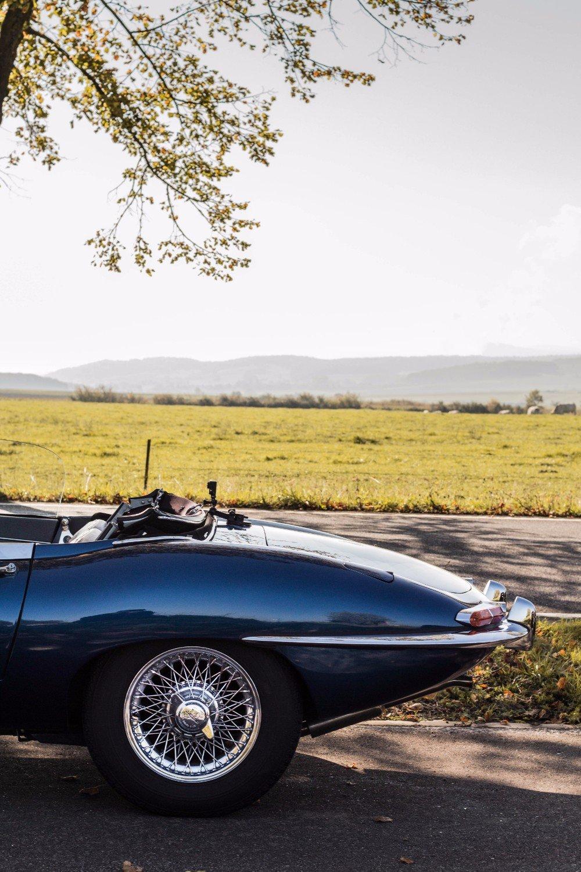 Our Jaguar E-type on a drive